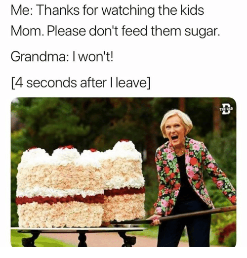 Grandma, Kids, and Sugar: Me: Thanks for watching the kids  Mom. Please don't feed them sugar  Grandma: I won't!  [4 seconds after I leave]