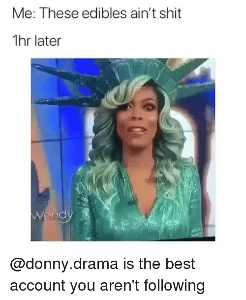 Funny, Shit, and Best: Me: These edibles ain't shit  1hr later @donny.drama is the best account you aren't following