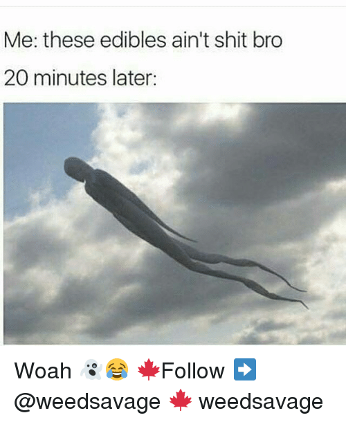 Memes, 🤖, and Bro: Me: these edibles ain't shit bro  20 minutes later: Woah 👻😂 🍁Follow ➡ @weedsavage 🍁 weedsavage