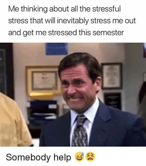 inevitably: Me thinking about all the stressful  stress that will inevitably stress me out  and get me stressed this semester Somebody help 😅😫