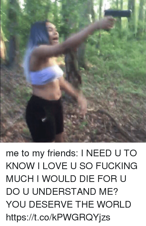 Friends, Fucking, and Funny: me to my friends: I NEED U TO KNOW I LOVE U SO FUCKING MUCH I WOULD DIE FOR U DO U UNDERSTAND ME? YOU DESERVE THE WORLD https://t.co/kPWGRQYjzs