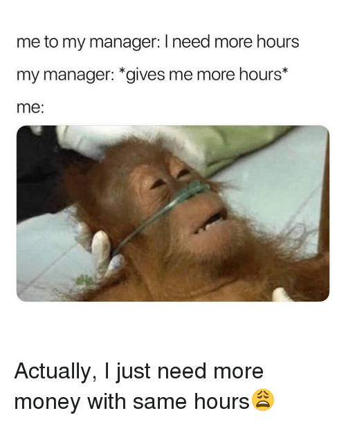 Memes, Money, and 🤖: me to my manager: I need more hours  my manager: *gives me more hours*  me: Actually, I just need more money with same hours😩