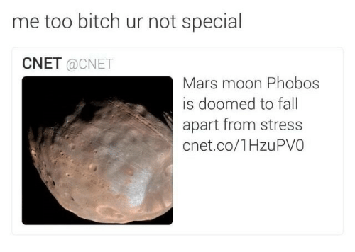 Cnet: me too bitch ur not special  CNET @CNET  Mars moon Phobos  is doomed to fall  apart from stress  cnet.co/1HzuPVO