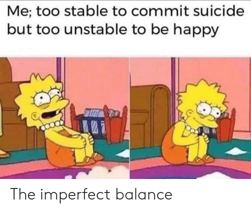 imperfect: Me; too stable to commit suicide  but too unstable to be happy The imperfect balance