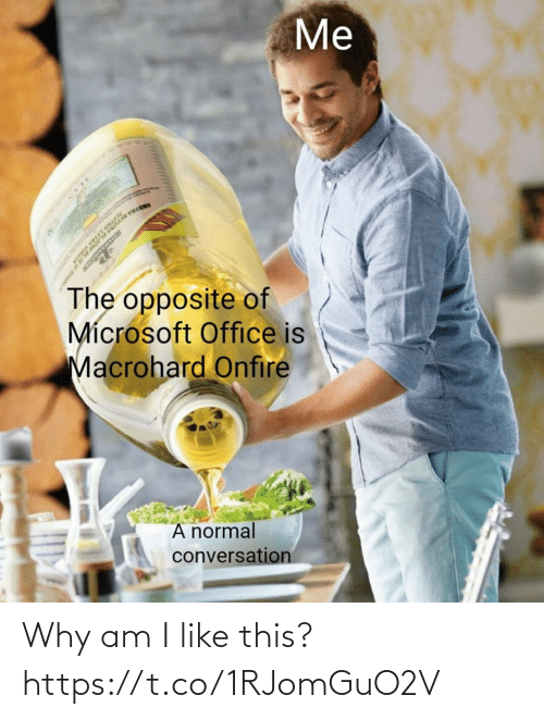 Microsoft Office: Me  TRA DET  The opposite of  Microsoft Office is  Macrohard Onfire  A normal  conversation Why am I like this? https://t.co/1RJomGuO2V