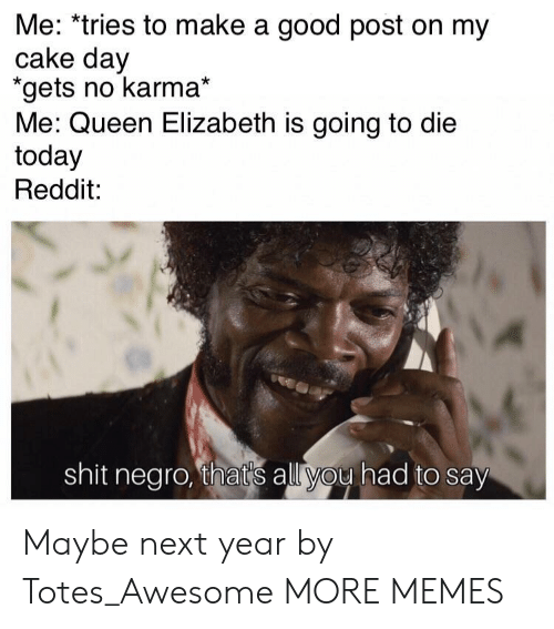Queen Elizabeth: Me: *tries to make a good post on my  cake day  gets no karma*  Me: Queen Elizabeth is going to die  today  Reddit:  shit negro, thats all you had to say Maybe next year by Totes_Awesome MORE MEMES