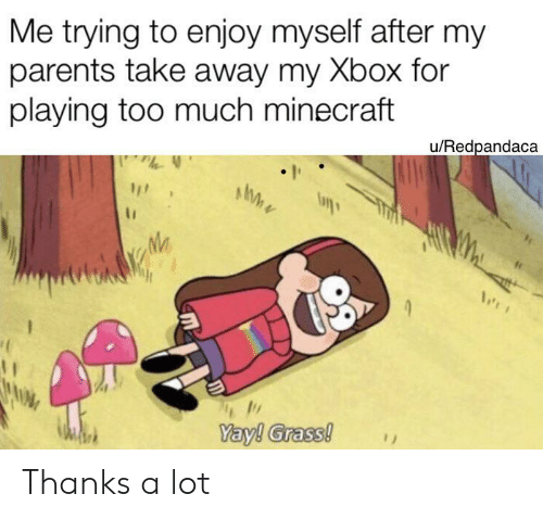 Playing Too Much: Me trying to enjoy myself after my  parents take away my Xbox for  playing too much minecraft  u/Redpandaca  Yay! Grass! Thanks a lot