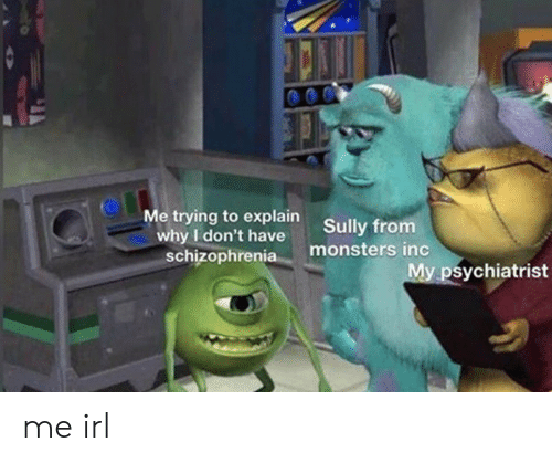 Monsters Inc: Me trying to explain  why I don't have  schizophrenia  Sully from  monsters inc  My psychiatrist me irl