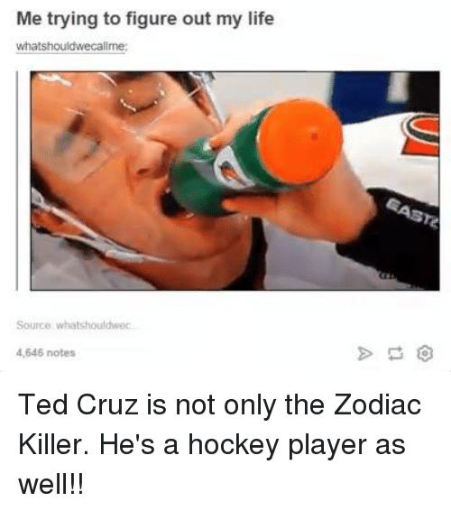 Hockey, Life, and Ted: Me trying to figure out my life  whatshouldwecallme  Source whatshouldwec  4,646 notes Ted Cruz is not only the Zodiac Killer. He's a hockey player as well!!