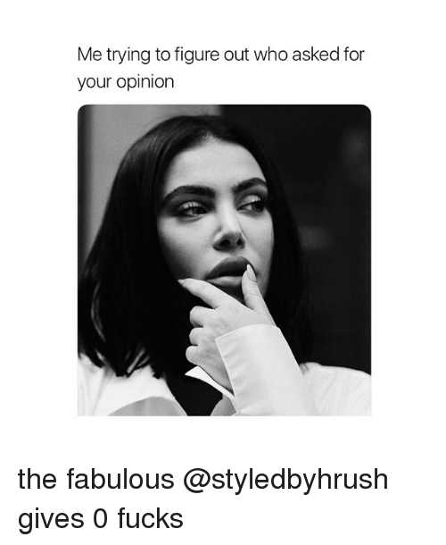 Girl Memes, Who, and Fabulous: Me trying to figure out who asked for  your opinion the fabulous @styledbyhrush gives 0 fucks
