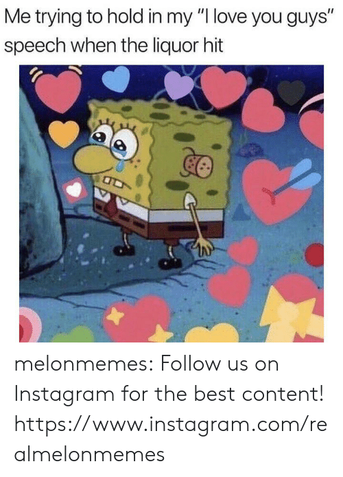 """liquor: Me trying to hold in my """"I love you guys""""  speech when the liquor hit melonmemes:  Follow us on Instagram for the best content! https://www.instagram.com/realmelonmemes"""