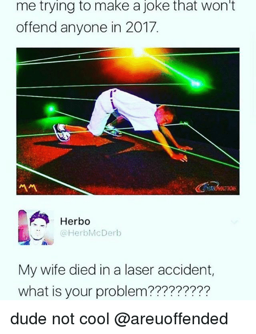 Dude, Cool, and What Is: me trying to make a joke that won't  offend anyone in 2017.  서서  Herbo  @HerbMcDerb  My wife died in a laser accident,  what is your problem????????? dude not cool @areuoffended