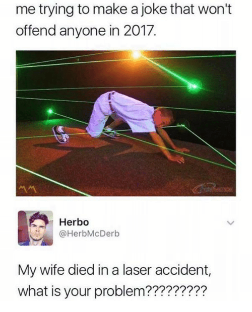 Funny, What Is, and Wife: me trying to make a joke that won't  offend anyone in 2017.  서서  Herbo  @HerbMcDerb  My wife died in a laser accident,  what is your problem?????????