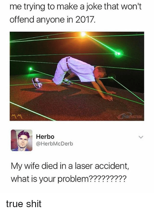 Memes, Shit, and True: me trying to make a joke that won't  offend anyone in 2017.  Herbo  @HerbMcDerb  My wife died in a laser accident,  what is your problem????????? true shit