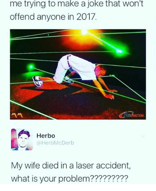 Memes, What Is, and Wife: me trying to make a joke that won't  offend anyone in 2017.  서서  Herb。  Herbo  @HerbMcDerb  My wife died in a laser accident,  what is your problem?????????
