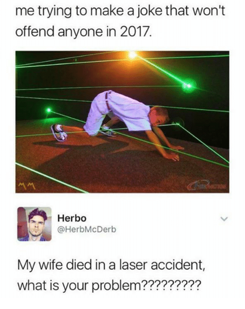 Dank, What Is, and Wife: me trying to make a joke that won't  offend anyone in 2017.  서서  Herbo  @HerbMcDerb  My wife died in a laser accident,  what is your problem?????????