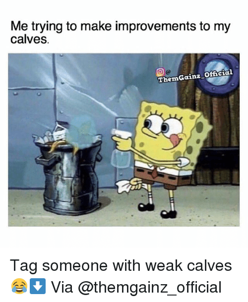 Gym, Tag Someone, and Via: Me trying to make improvements to my  calves  ThemGainz Oficial Tag someone with weak calves😂⬇️ Via @themgainz_official