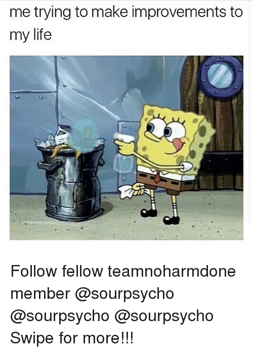 Life: me trying to make improvements to  my life Follow fellow teamnoharmdone member @sourpsycho @sourpsycho @sourpsycho Swipe for more!!!