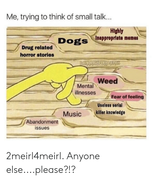 Dogs, Memes, and Weed: Me, trying to think of small talk...  Highly  Dogs /Inappropriate memes  Drug related  horror stories  Weed  Mental  illnesses  Fear of feeling  Useless serial  Musickiller knowledge  Abandonment  issues 2meirl4meirl. Anyone else....please?!?
