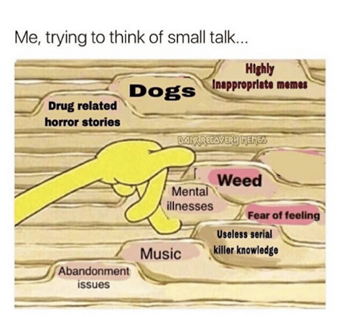 Inappropriate Memes: Me, trying to think of small talk...  Highly  Inappropriate memes  DOgS  Drug related  horror stories  Weed  Mental  illnesses  Fear of feeling  Useless serial  Musickiller knowledge  Abandonment  ssues
