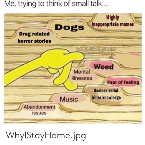 Dogs, Memes, and Music: Me, trying to think of small talk...  Highly  Inappropriate memes  Dogs  Drug related  horror stories  DANKRECAVERY MEMES  Weed  Mental  ilnesses  Fear of feeling  Useless serial  killer knowledge  Music  Abandonment  issues WhyIStayHome.jpg