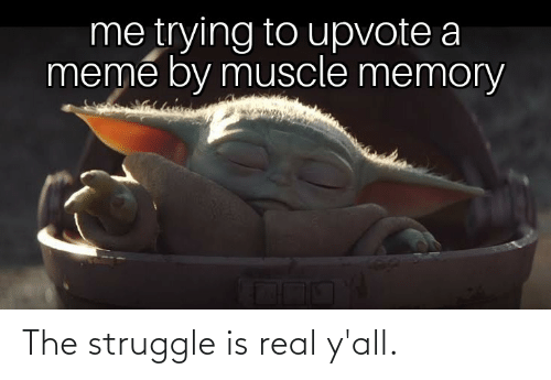 muscle: me trying to upvote a  meme by muscle memory The struggle is real y'all.