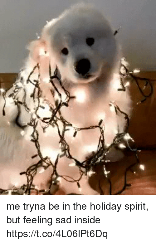 Spirit, Girl Memes, and Sad: me tryna be in the holiday spirit, but feeling sad inside  https://t.co/4L06lPt6Dq