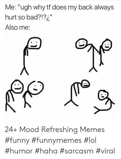 "Memes Funny: Me: ""ugh why tf does my back always  hurt so bad?!?i""  II  Also me: 24+ Mood Refreshing Memes #funny #funnymemes #lol #humor #haha #sarcasm #viral"