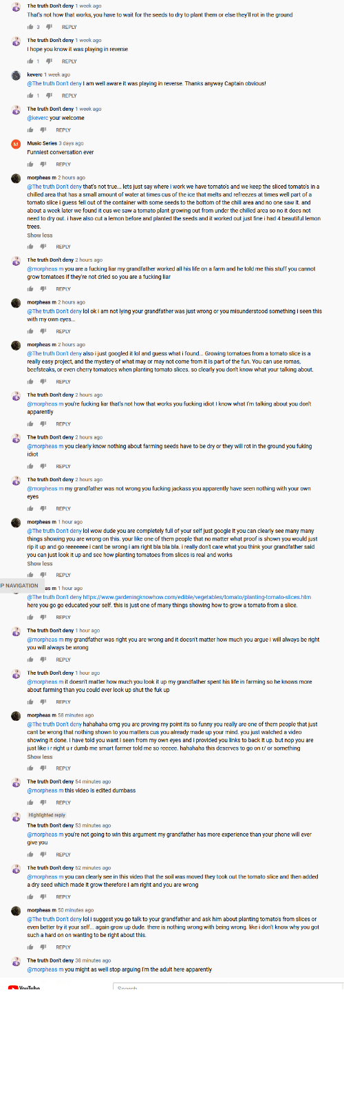 """Tube: me vs """"the truth don't deny"""" on a you tube video. he just cant be wrong."""