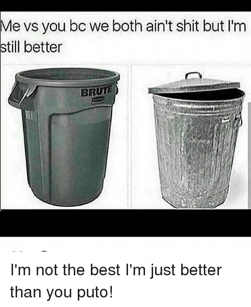 Memes, Best, and 🤖: Me vs you bc we both ain't shit but I'm  still better  BRUTE I'm not the best I'm just better than you puto!