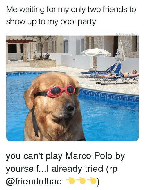 Polo: Me waiting for my only two friends to  show up to my pool party you can't play Marco Polo by yourself...I already tried (rp @friendofbae 👈👈👈)