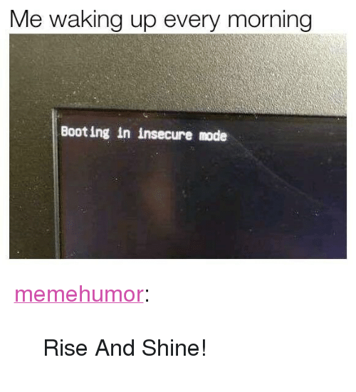 """Rise And Shine: Me waking up every morning  Booting in insecure mode <p><a href=""""http://memehumor.net/post/168124921353/rise-and-shine"""" class=""""tumblr_blog"""">memehumor</a>:</p>  <blockquote><p>Rise And Shine!</p></blockquote>"""