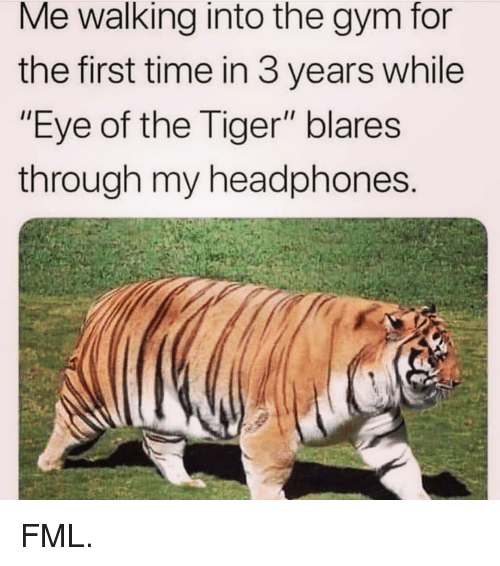 """FML: Me walking into the gym for  the first time in 3 years while  """"Eye of the Tiger"""" blares  through my headphones FML."""