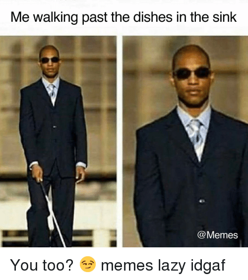 Lazy, Memes, and Idgaf: Me walking past the dishes in the sink  @Memes You too? 😏 memes lazy idgaf