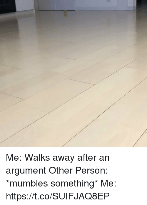 Girl Memes, Person, and Argument: Me: Walks away after an argument  Other Person: *mumbles something* Me: https://t.co/SUIFJAQ8EP