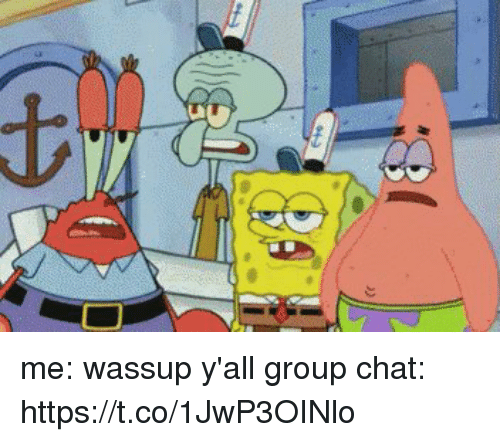 Group Chat, Chat, and Girl Memes: me: wassup y'all   group chat: https://t.co/1JwP3OINlo