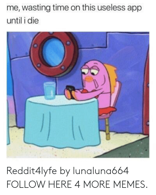 Wasting Time: me, wasting time on this useless app  until i die Reddit4lyfe by lunaluna664 FOLLOW HERE 4 MORE MEMES.