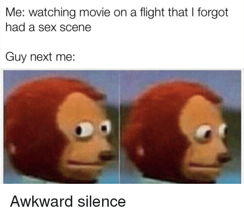 Sex, Awkward, and Flight: Me: watching movie on a flight that I forgot  had a sex scene  Guy next me: Awkward silence