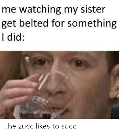 Zucc: me watching my sister  get belted for something  I did: the zucc likes to succ