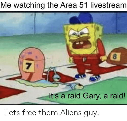 Aliens Guy: Me watching the Area 51 livestream  8  7  It's a raid Gary, a raid! Lets free them Aliens guy!