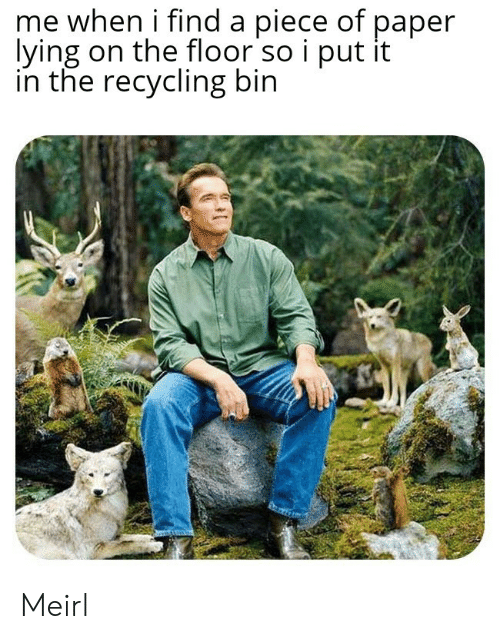 recycling: me when i find a piece of paper  lying on the floor so i put it  in the recycling bin Meirl