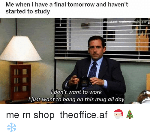 Af, Memes, and Work: Me when I have a final tomorrow and haven't  started to study  Il  don't want to work  I just want to bang on this mug all day me rn shop ➵ theoffice.af 🎅🏻🎄❄️‬