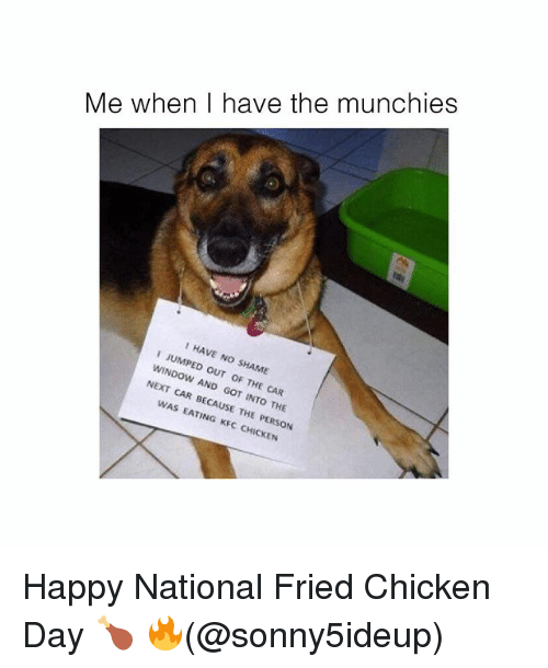 Kfc, Memes, and Munchies: Me when I have the munchies  I HAVE NO SHAME  NO  I JUMPED OUT OF THE CAR  JUMP  WINDOW AND GOT INTO THE  NEXT CAR BECAUSE THE PERSON  WAS EATING KFC CHICKEN  HICKEN Happy National Fried Chicken Day 🍗 🔥(@sonny5ideup)