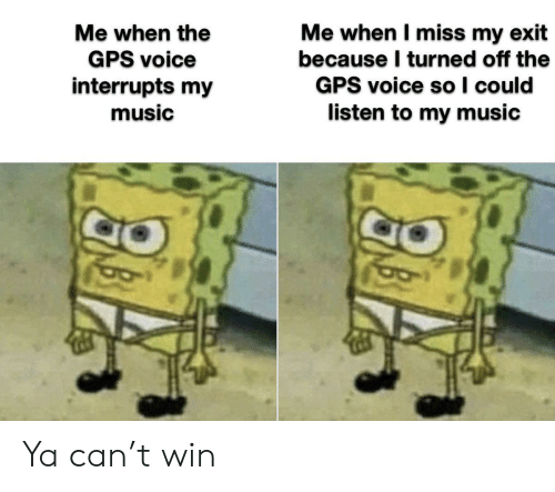 Exit: Me when I miss my exit  because I turned off the  GPS voice so I could  listen to my music  Me when the  GPS voice  interrupts my  music Ya can't win
