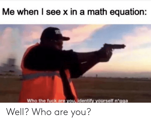Identify: Me when I see x in a math equation:  Who the fuck are you, identify yourself n*gga Well? Who are you?