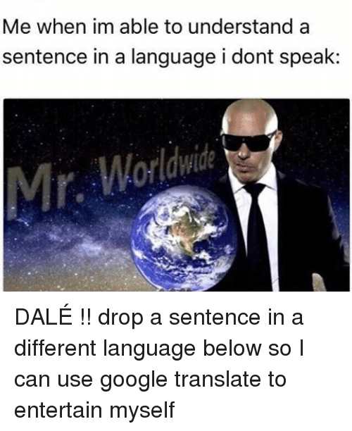 Google, Translate, and Translation: Me when im able to understand a  sentence in a language i dont speak DALÉ !! drop a sentence in a different language below so I can use google translate to entertain myself