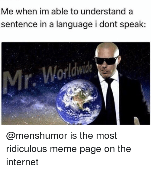 Internet, Memes, and Ridicule: Me when im able to understand a  sentence in a language i dont speak @menshumor is the most ridiculous meme page on the internet