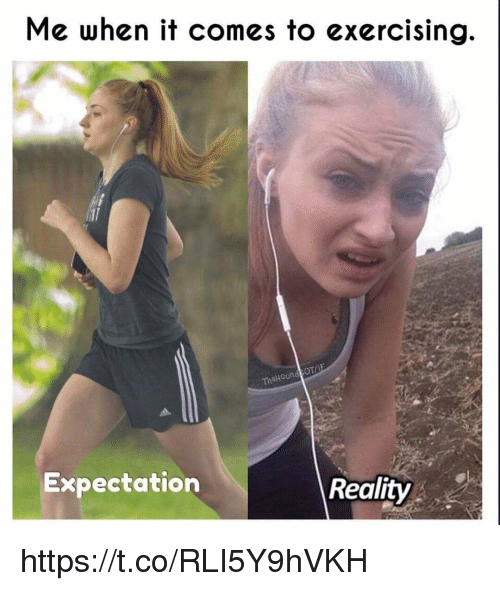 Memes, Reality, and 🤖: Me when it comes to exercising  OT/  TheHound  Expectation  Reality https://t.co/RLI5Y9hVKH