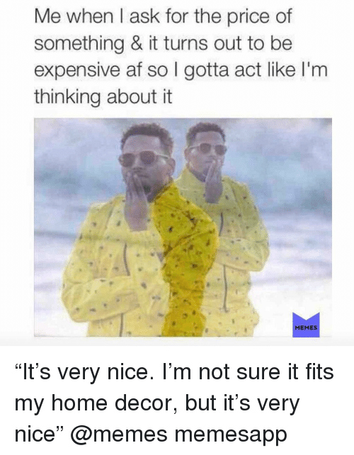 "It Memes: Me when l ask for the price of  something & it turns out to be  expensive af so I gotta act like I'm  thinking about it  MEMES ""It's very nice. I'm not sure it fits my home decor, but it's very nice"" @memes memesapp"