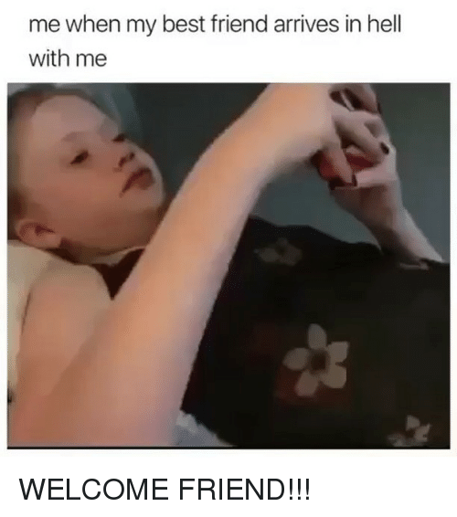 Best Friend, Memes, and Best: me when my best friend arrives in hell  with me WELCOME FRIEND!!!